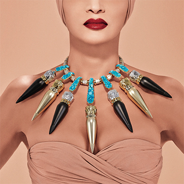 Louboutin's fashionable lipstick line was inspired by Queen Nefertiti and the Art Deco movement.